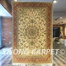 Yilong 4'x6' Heriz Handmade Wool Silk Rug Blanket Medallion Woollen Carpet 2082