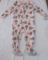 Carter's Baby Girls' Fleece Footed Sleeper PJs 24 Months Pink Monkeys NWT