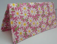 Pink Daisy Checkbook Cover Coupon Document Cash Money Holder USA Ready-Made