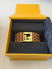Fendi New with Defects Fendista Nappa Goldtone & Brown Lambskin Bracelet ($500)