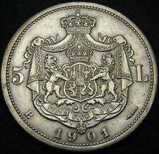 ROMANIA 5 Lei 1901B - Silver - Carol I. - aUNC - 1823 *