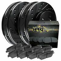 [FRONT+REAR KIT] Black Hart *DRILLED & SLOTTED* Brake Rotors +Ceramic Pads C2664