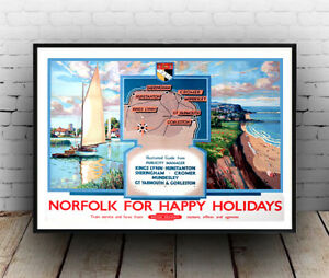 Norfolk for happy Holiday , Vintage Rail travel advertising Poster reproduction.