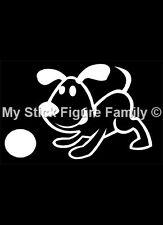 Figura de palo de mi familia coche ventana Stickers PD4 Perro con Bola