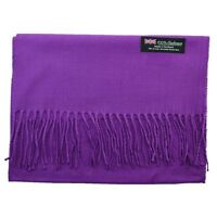 Men's 100% CASHMERE Warm PLAIN Scarf pure solid Purple Wool MADE IN SCOTLAND