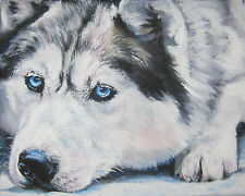 Siberian Husky CANVAS PRINT of LAShepard painting LSHEP sled dog art 8x10