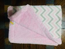 BANANAFISH Fuzzy Pink Grey White Chevron Baby Blanket Plush Security Lovey