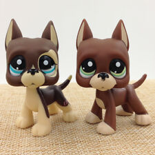 2*Lps 1519 Littlest Pet Shop Green Eyes Brown Great Dane Dog Puppy Toy Rare Toy