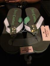 JUICY COUTURE Rhinestone Thong Wedge Heels Sandals Flip Flops GREEN / GRAY LARGE