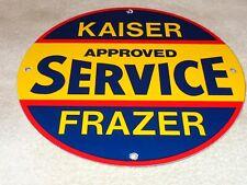 """VINTAGE KAISER FRAZIER APPROVED SERVICE 11 3/4"""" PORCELAIN METAL CAR GAS OIL SIGN"""