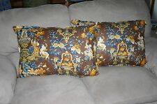 "Oriental Decor Pillows  1 set of pillow. With Silk backing. 28 X 18""."