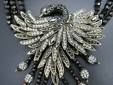 NEW Heidi Daus Graceful Beauty 3-Row Beaded Crystal Swan Drop Necklace STUNNING!