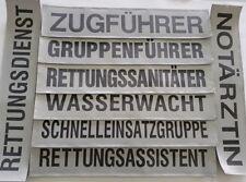 """Rückenschild """"Rettungsdienst"""",in Silber,  DRK BRK SEG Arzt (42 cm x 8 cm)"""