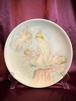 HUGE Antique Hand Painted Charger Platter Nude with Cherubs Putti Risqué EUC