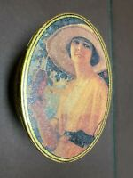 Coca Cola Tin Container Metal oval Vintage Victorian Women Drinking Coke