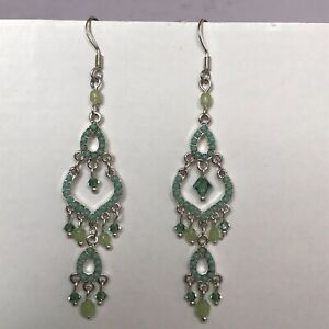Boho Style Earrings With Green Coloured Beads And Faceted Glass Drops