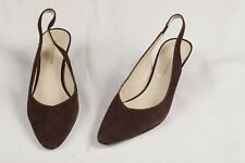 AK Anne Klein Womens 8.5 M Brown Leather Suede Dress Shoes Heels Pumps Slingback