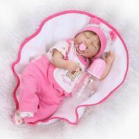 "Sleeping 17"" 42cm Soft Vinyl Reborn Baby Girl Doll Toddler Newborn Toy Dolls"