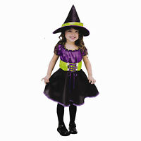 Girls Childrens Witch Halloween Fancy Dress Costume 4-10 Yrs