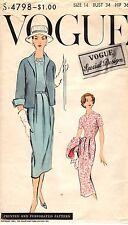 Vintage 1950s Vogue Special Design Pattern Womens DRESS & JACKET S-4798 14 UNCUT