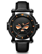 Harley-Davidson® Bulova Mens Willie G Skull Stainless Steel Leather Watch 78A114