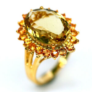 NATURAL GOLDEN YELLOW CITRINE & SAPPHIRE RING 925 SILVER STERLING SZ7.25