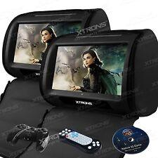 """XTRONS HD908 Black 2x 9"""" Car Headrest Digital Monitor Touch Screen DVD Player UK"""