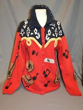 The Eagles Eye Cardigan Sweater Nashville Music Guitar Country Sz M Hand Knit
