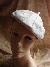Vintage 60s LEATHER Hat Cap Beanie VGC Beret Bone  Clip on MOD Artist
