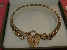 Vintage 9ct Gold Solid Link Charm Bracelet. 23.2g