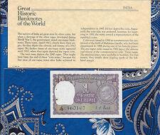 Great Historic Banknotes India 1 Rupee 1969 P 66 UNC Prefix J/43