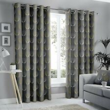 "NEW Fusion Delta Grey Lined Eyelet Curtains - 66""x 90"""