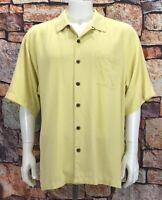 Tommy Bahama Men's XL Button Down Shirt Textured  Silk Yellow Short Sleeve