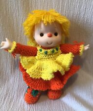 Handmade Vintage Crochet Yarn Doll Bright Colors Orange Yellow Freckles