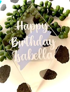 Diamond Acrylic Cake Topper, Personalised With Your Choice Of Wording And Colour