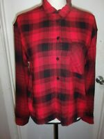 Express Womens Western Red Flannel Shirt Plaid Button Down Long Sleeve XS (B95)