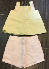 Janie an Jack NWT 2T Taste of Capri Seersucker Top & Linen Shorts Outfit Set