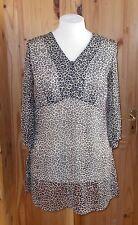 PLANET beige brown black leopard print chiffon 3/4sleeve kaftan tunic top 14 40