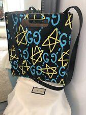 Gucci Ghost Graffiti Black, Yellow, Blue Leather Graffiti Tote BagNew