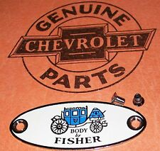 FISHER BODY PLATE TAG 1932 - 1940 BUICK CHEVY OLDS PONTIAC +Special Screws#320C