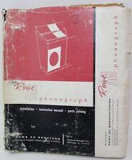 ROWE AMI Phonograph JAL 200 Jukebox Service Manual Part Schematic AC Manual