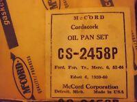 NOS McCord Gasket Oil Pan Set Ford Mercury 6 1952-1964 Edsel 1959-1960 CS-2458P