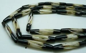 BUFFALO BEADS Carved Bone 2 Tone 1.5 inch Spiral Cut hair pipe 55 Bead 5 Strands