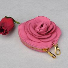 Rose Red Sweet Camellia PU Leather Purse Handbag  Lady Women Wallet  Key Bag NEW