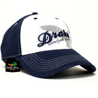 DRAKE WATERFOWL SYSTEMS STRETCH FLEX FIT WHITE FRONT HAT BALL CAP NAVY