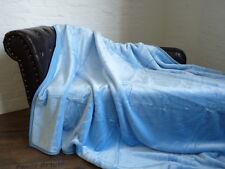 Kuscheldecke Tagesdecke Wohndecke Plaid Glanz-Design hellblau 160x200cm