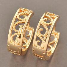 Dainty 9K Solid Gold Filled Openwork Womens Hoop Earrings,Z2974