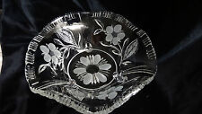 Vintage Crystal Footed Frosted Flowers and Leaves Bowl