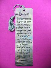 """Friends""  Poem on a Tasseled Bookmark (blue tassel-Sku# 506"