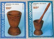 GABON GABUN 1998 1425-26 930-31 Wooden Tools Holzschnitzerei Handicrafts MNH